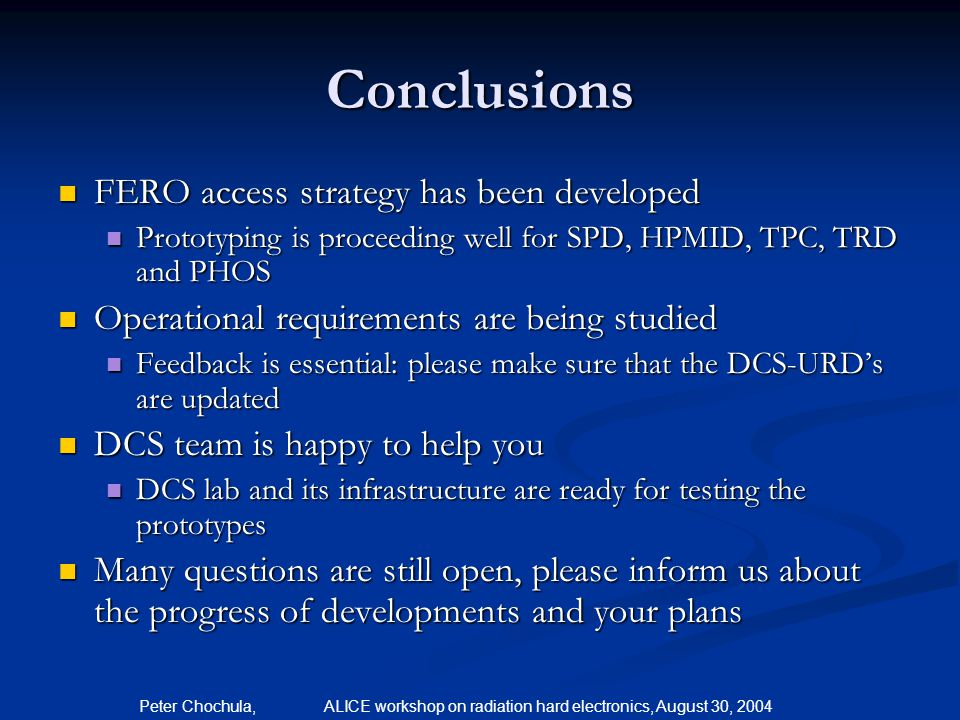 Conclusions FERO access strategy has been developed