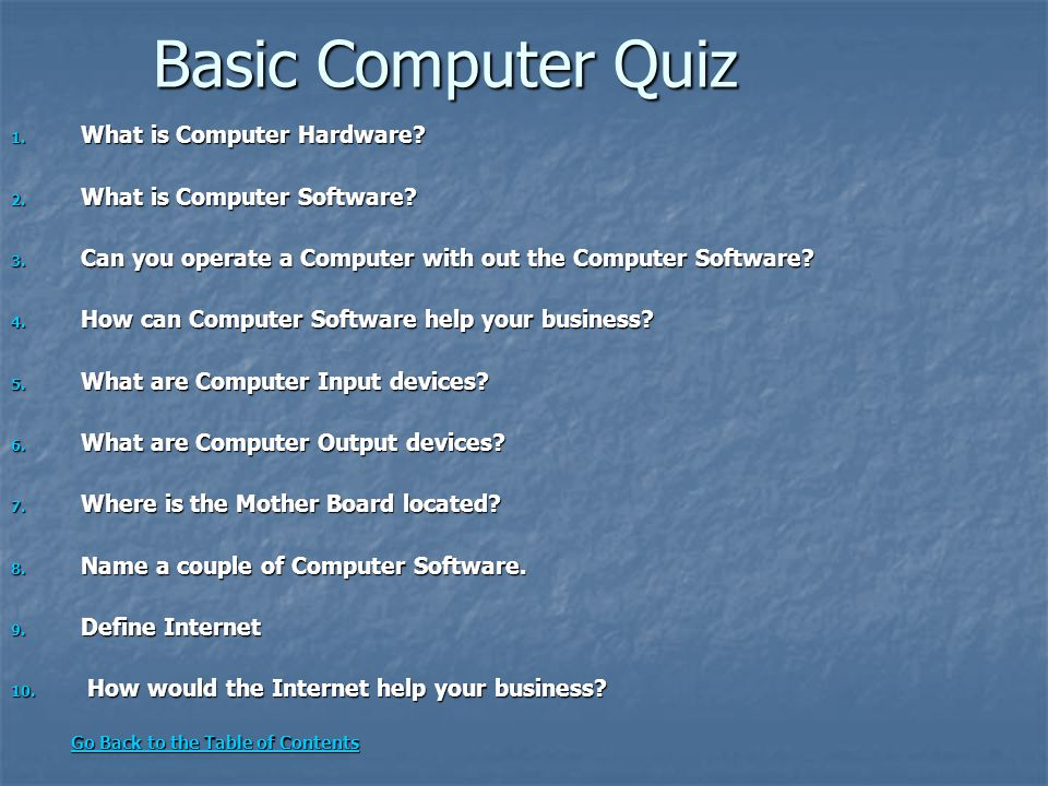 Basic Computer Quiz What is Computer Hardware