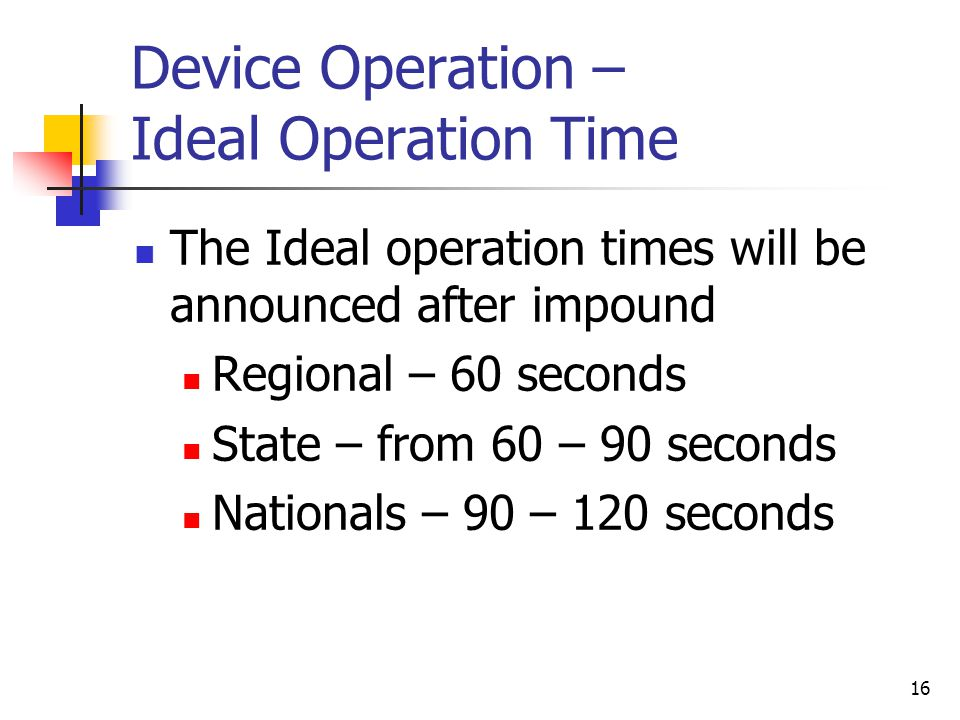 Device Operation – Ideal Operation Time