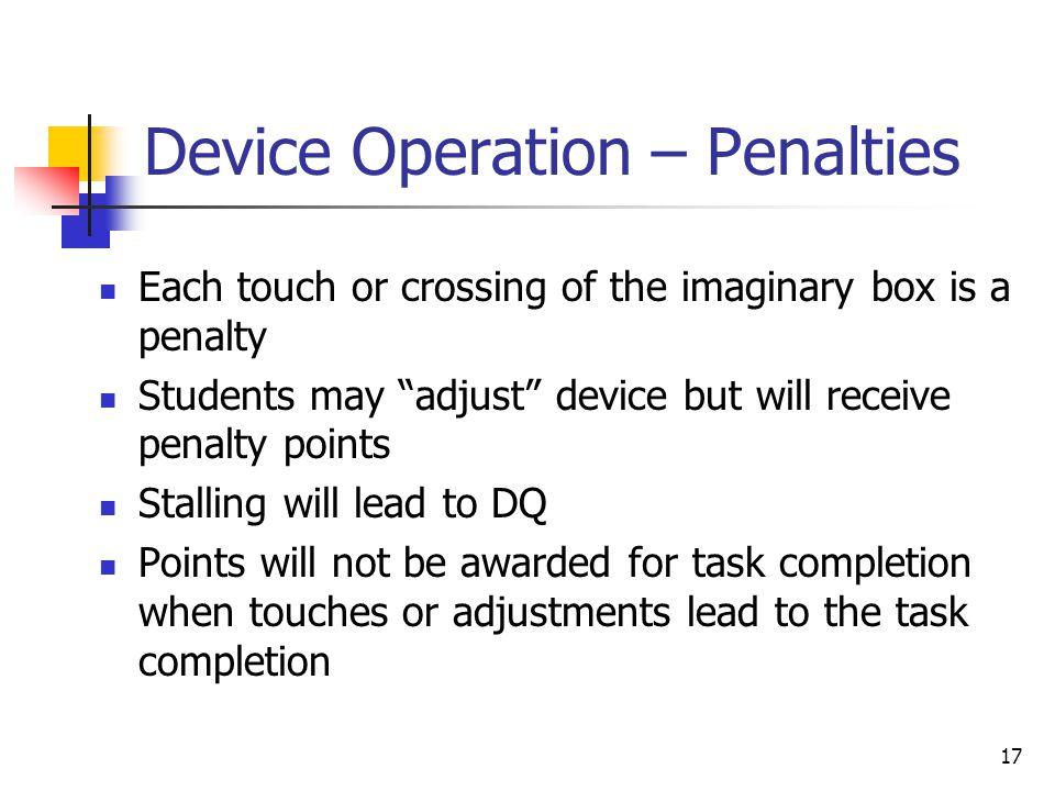 Device Operation – Penalties