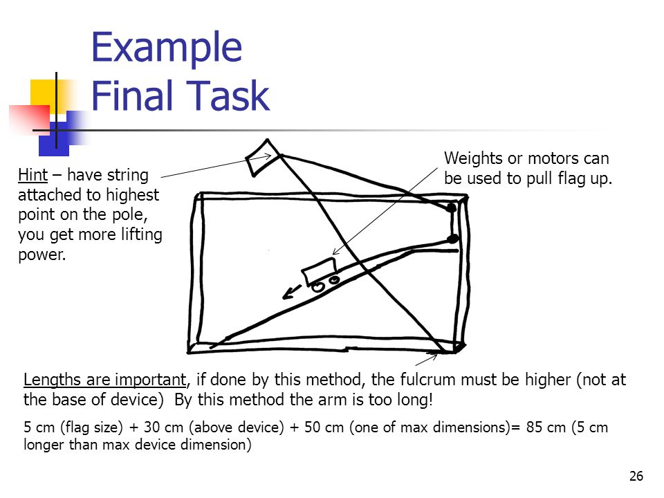 Example Final Task Weights or motors can be used to pull flag up.