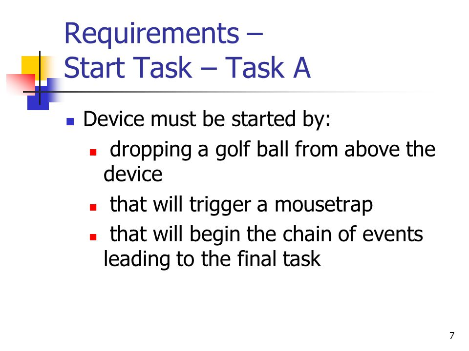 Requirements – Start Task – Task A
