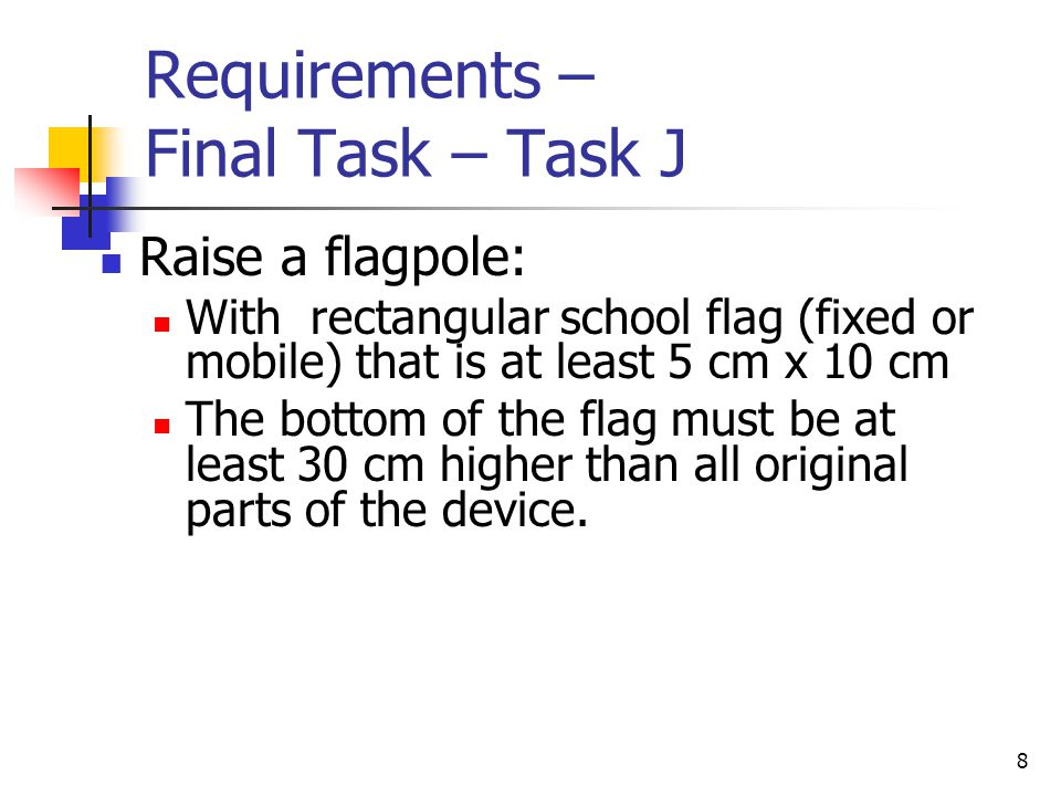 Requirements – Final Task – Task J