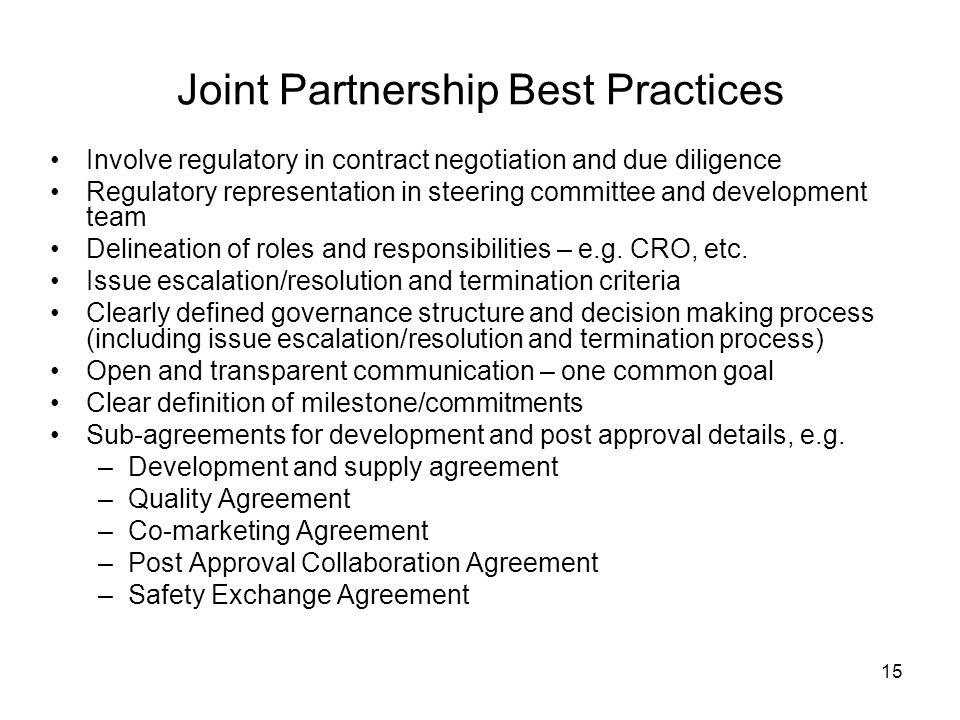 Joint Partnership Best Practices
