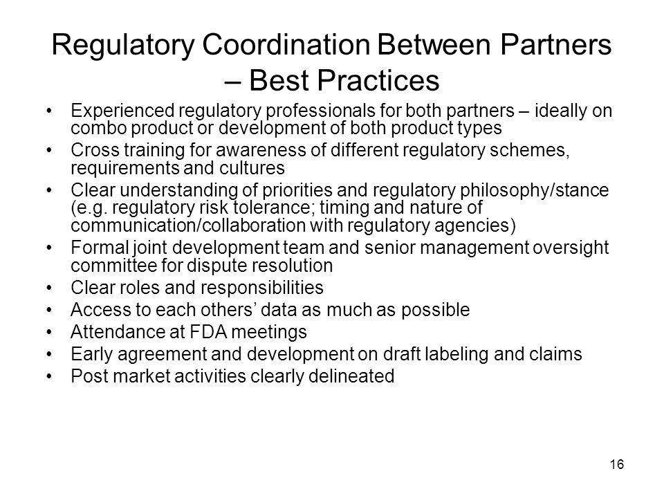 Regulatory Coordination Between Partners – Best Practices