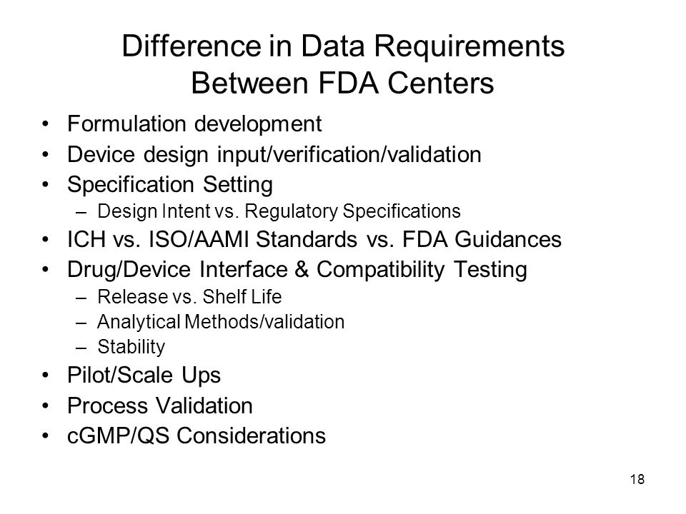Difference in Data Requirements Between FDA Centers