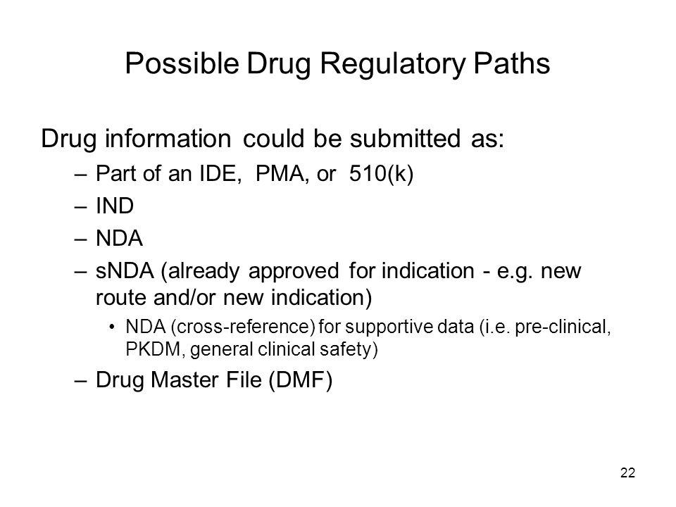 Possible Drug Regulatory Paths