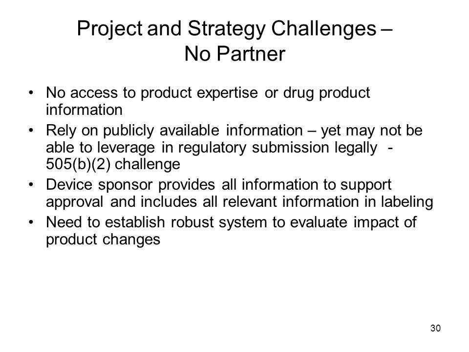 Project and Strategy Challenges – No Partner
