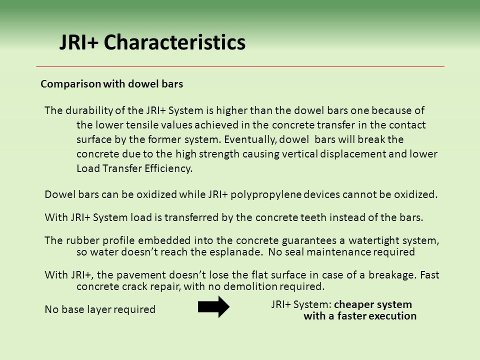 JRI+ Characteristics Comparison with dowel bars