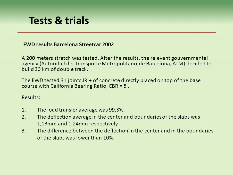 Tests & trials FWD results Barcelona Streetcar 2002