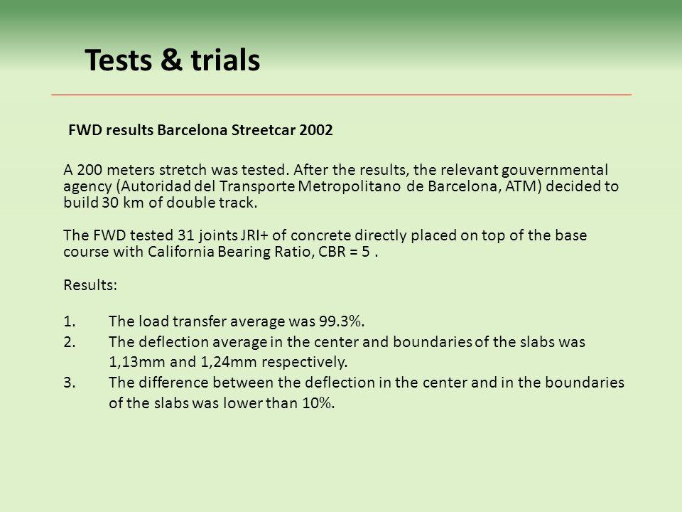 Tests & trials FWD results Barcelona Streetcar 2002
