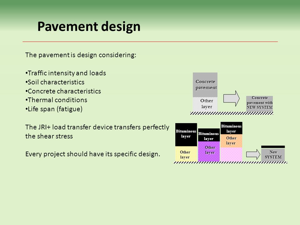 Concrete pavement with NEW SYSTEM