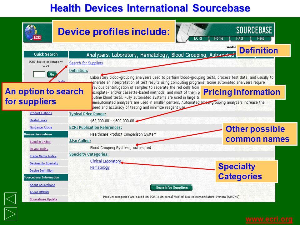 Device profiles include: