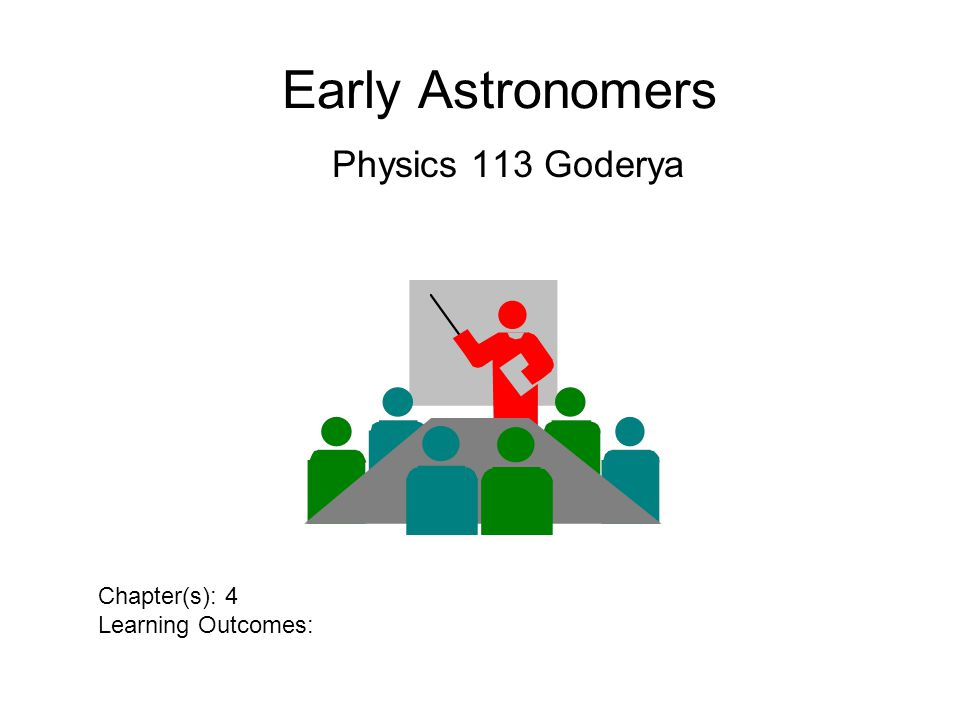 Early Astronomers Physics 113 Goderya Chapter(s): 4 Learning Outcomes: