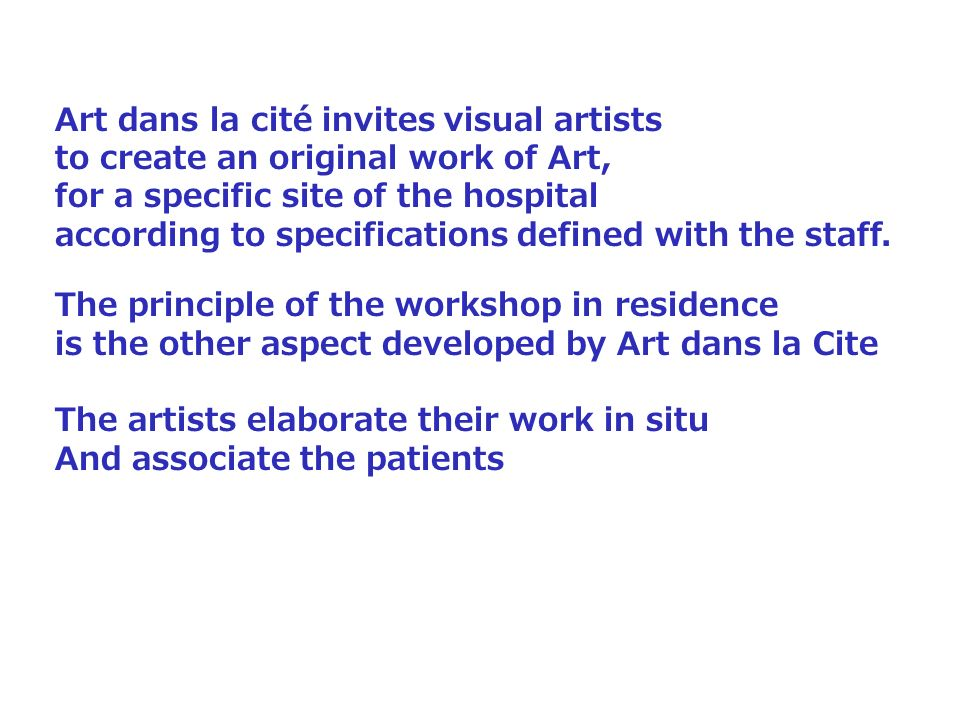 Art dans la cité invites visual artists