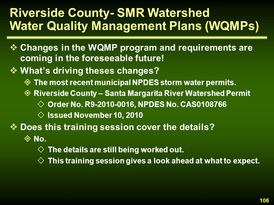 Riverside County- SMR Watershed Water Quality Management Plans (WQMPs)