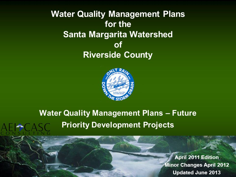 Water Quality Management Plans – Future Priority Development Projects