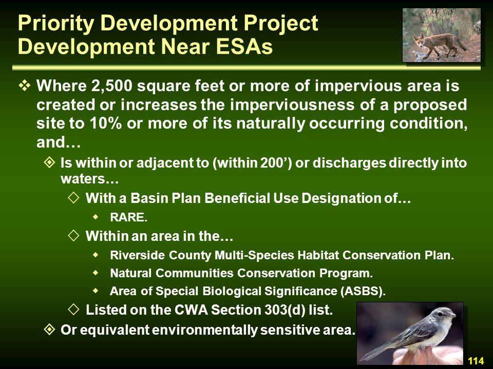 Priority Development Project Development Near ESAs