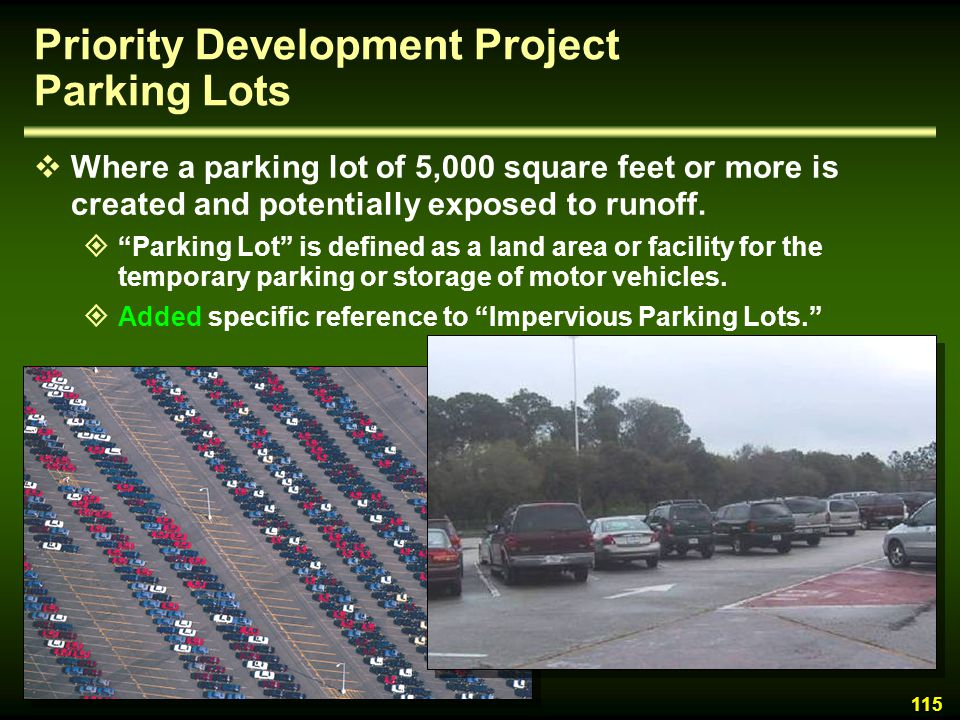 Priority Development Project Parking Lots