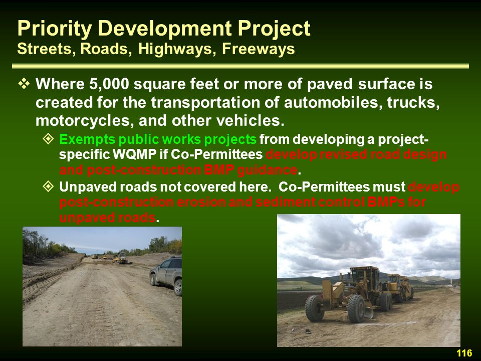 Priority Development Project Streets, Roads, Highways, Freeways