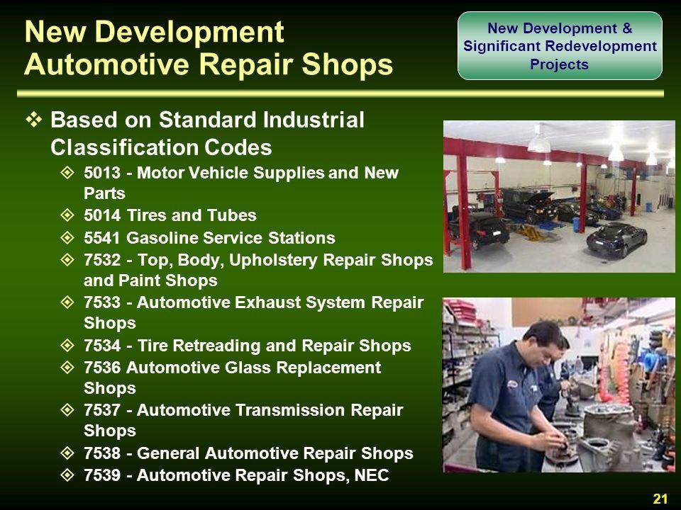New Development Automotive Repair Shops