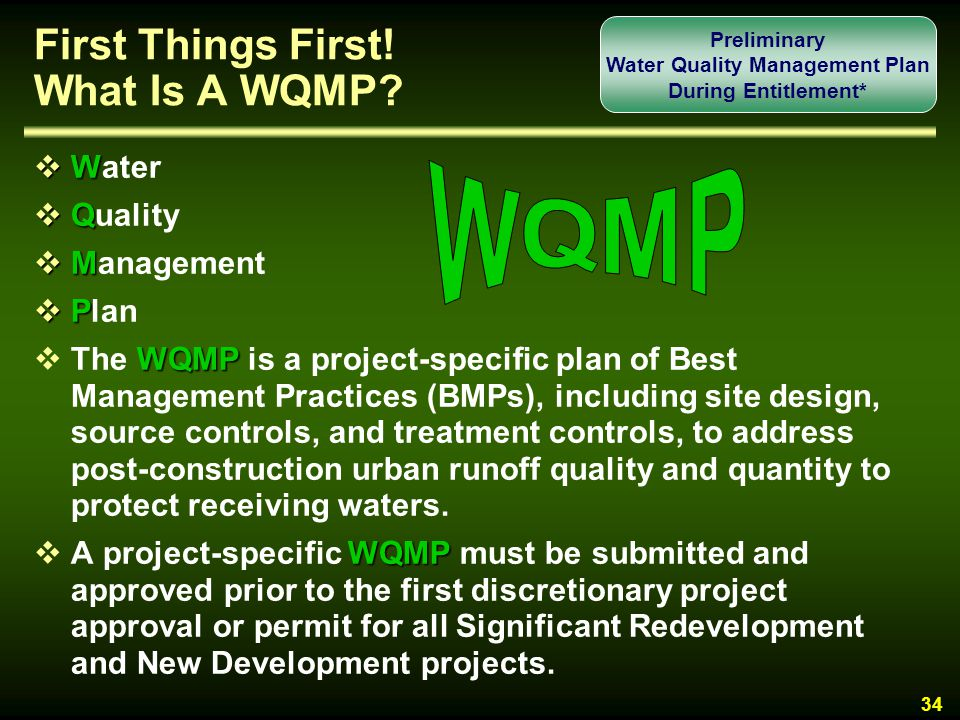 First Things First! What Is A WQMP