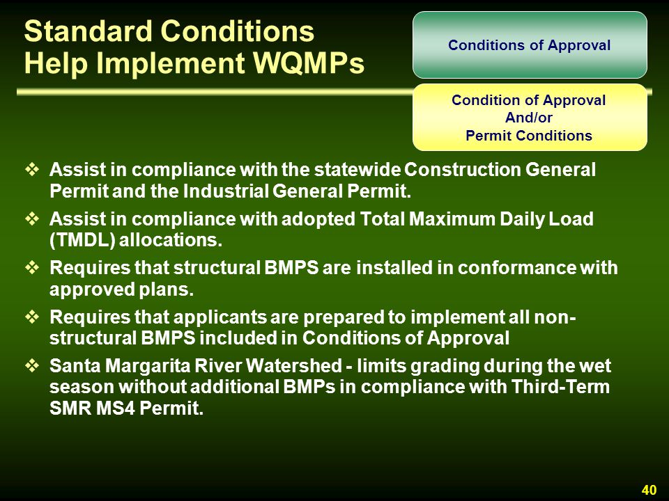 Standard Conditions Help Implement WQMPs