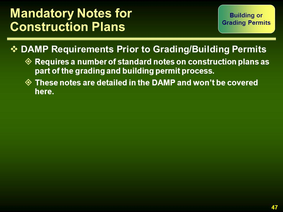 Mandatory Notes for Construction Plans
