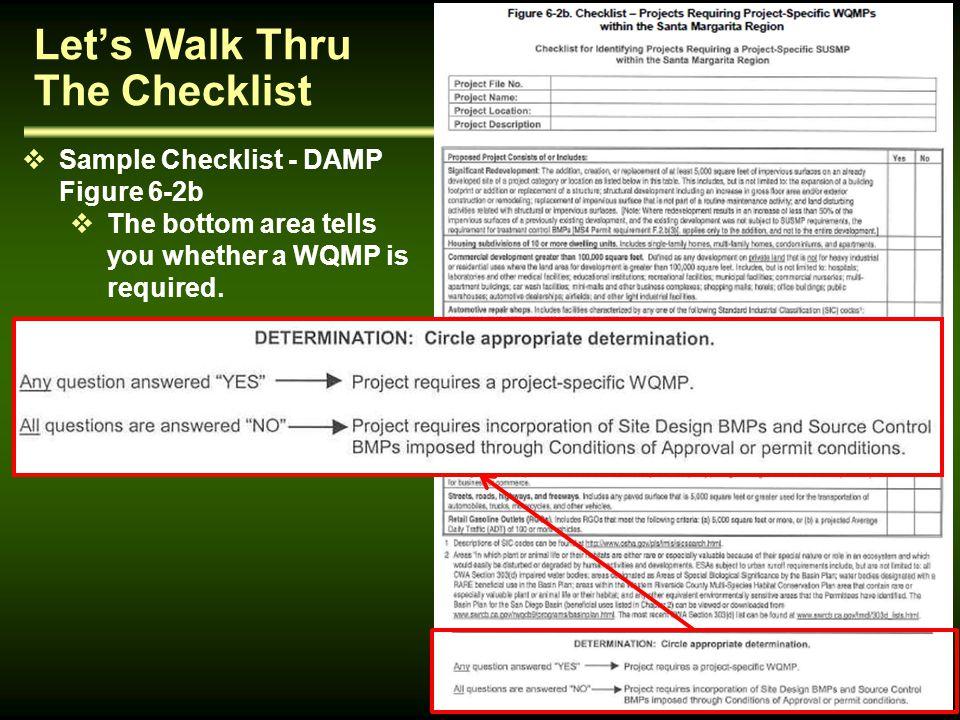 Let's Walk Thru The Checklist