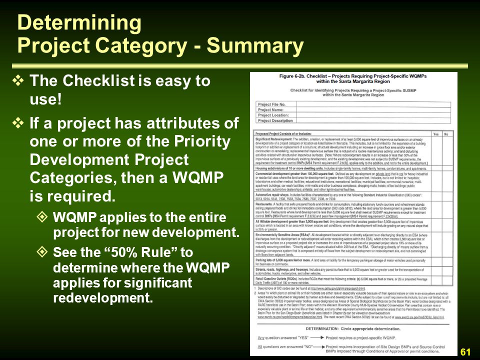 Determining Project Category - Summary