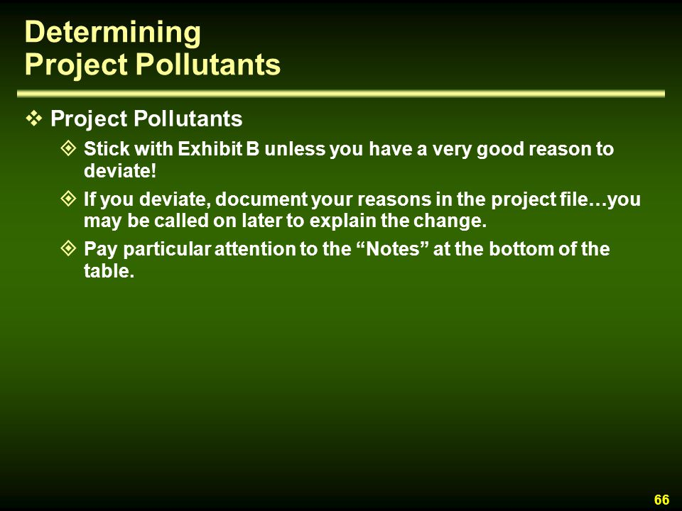 Determining Project Pollutants