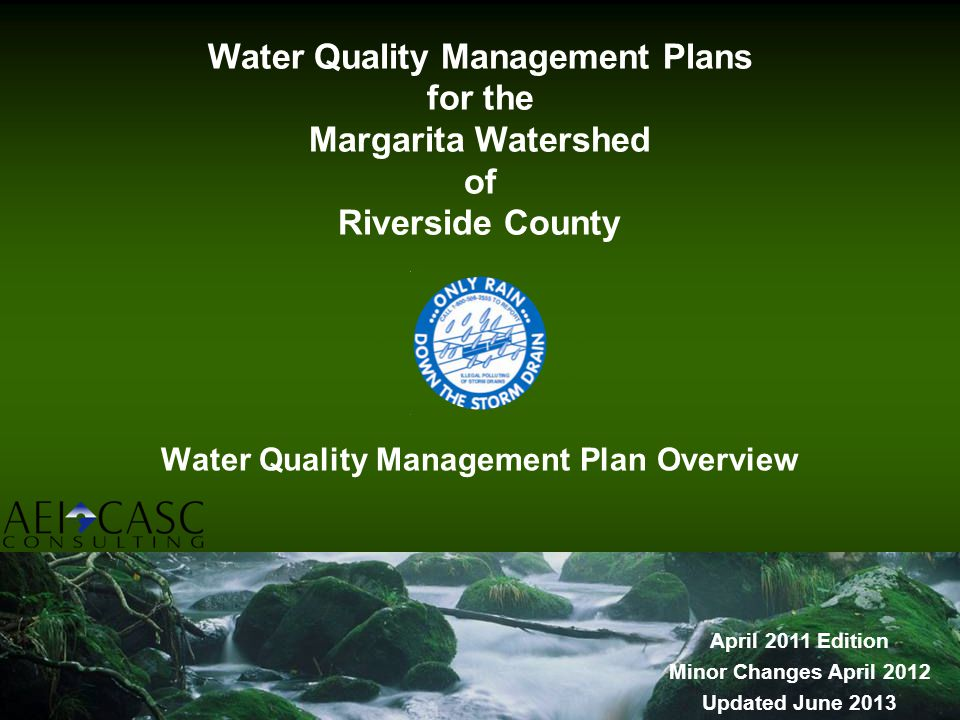 Water Quality Management Plan Overview