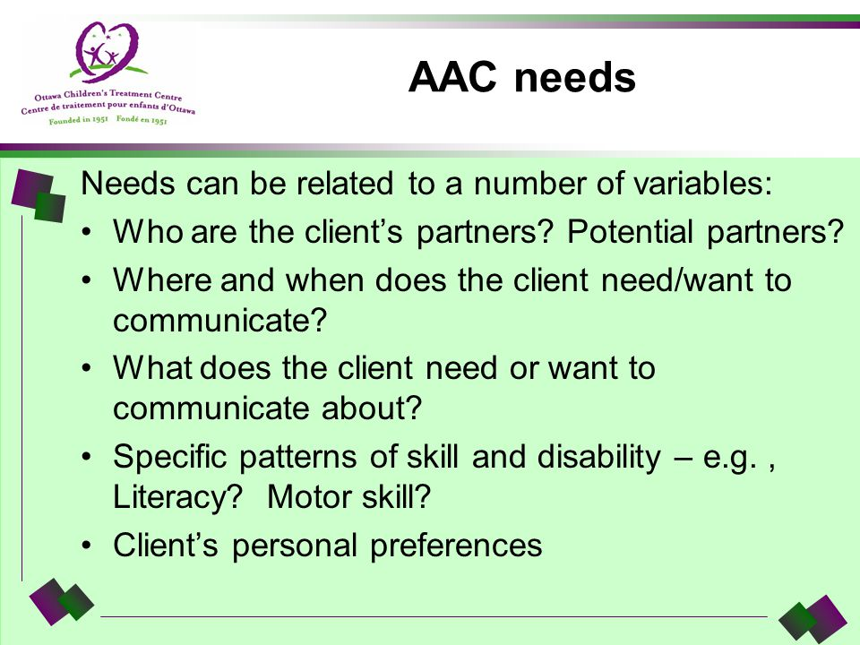 AAC needs Needs can be related to a number of variables:
