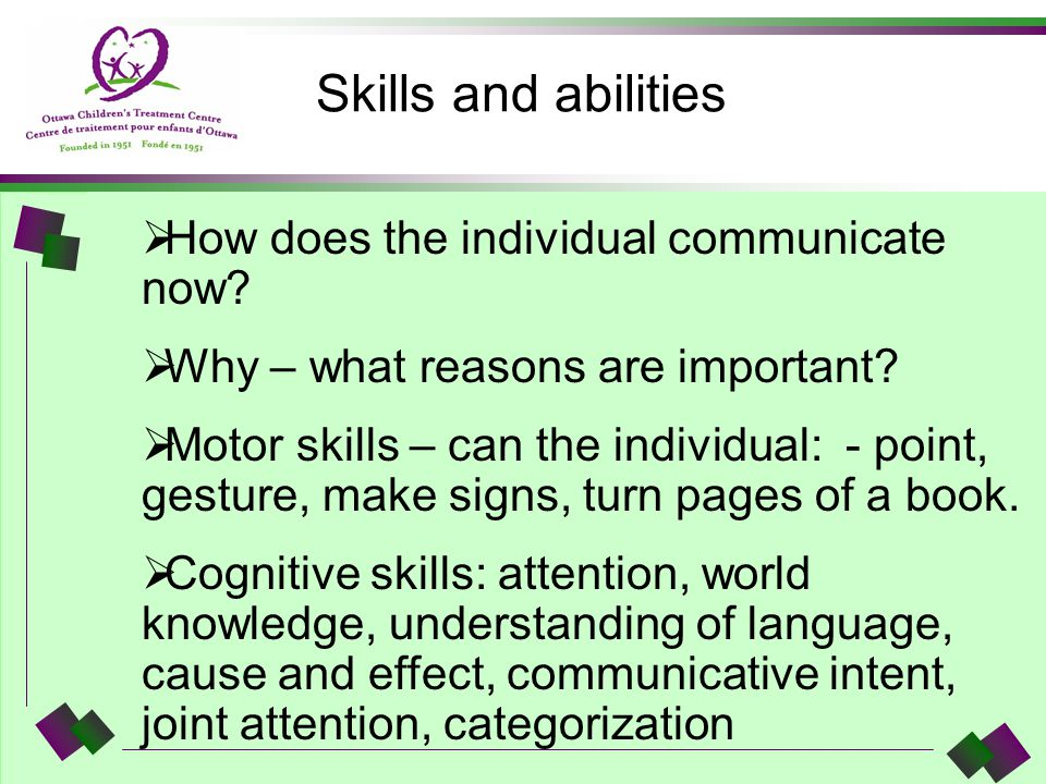Skills and abilities How does the individual communicate now