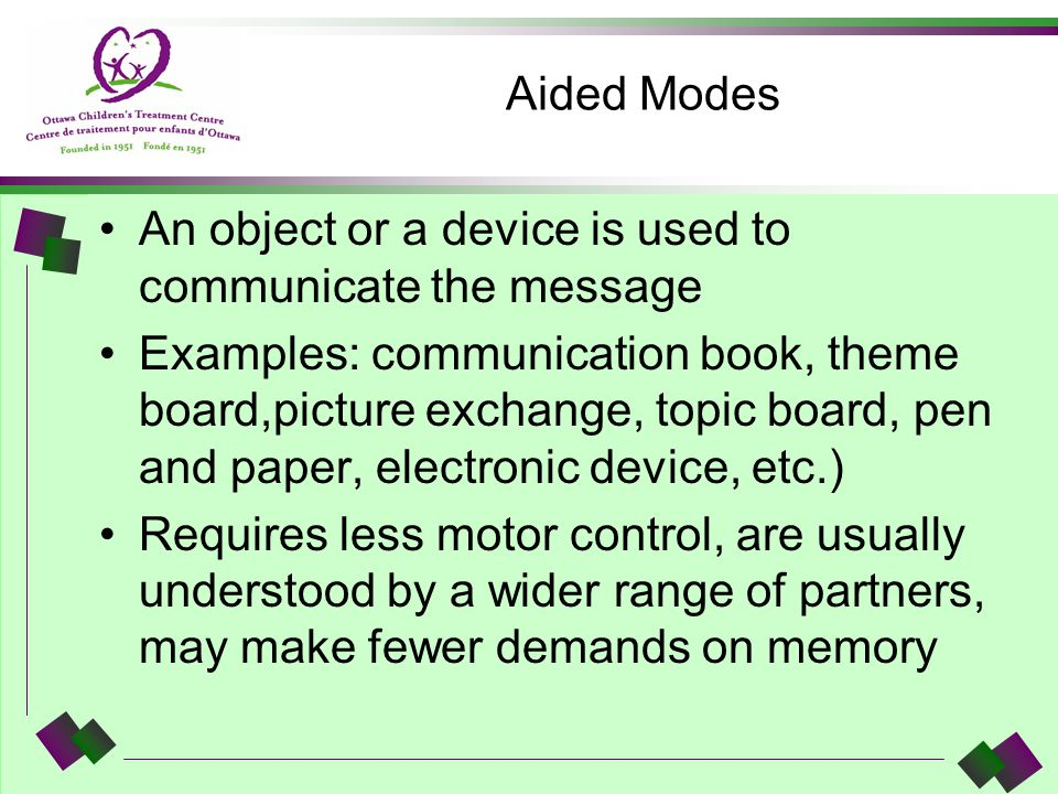 Aided Modes An object or a device is used to communicate the message.