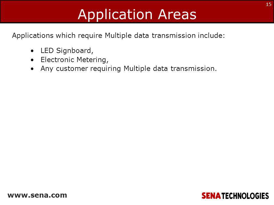 Application Areas Applications which require Multiple data transmission include: LED Signboard, Electronic Metering,