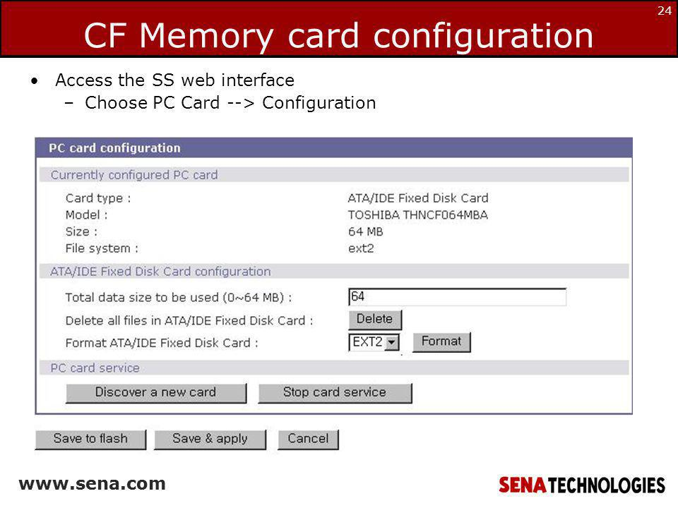 CF Memory card configuration