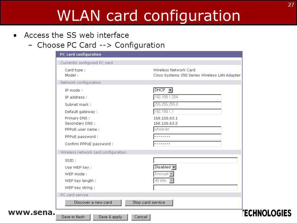 WLAN card configuration