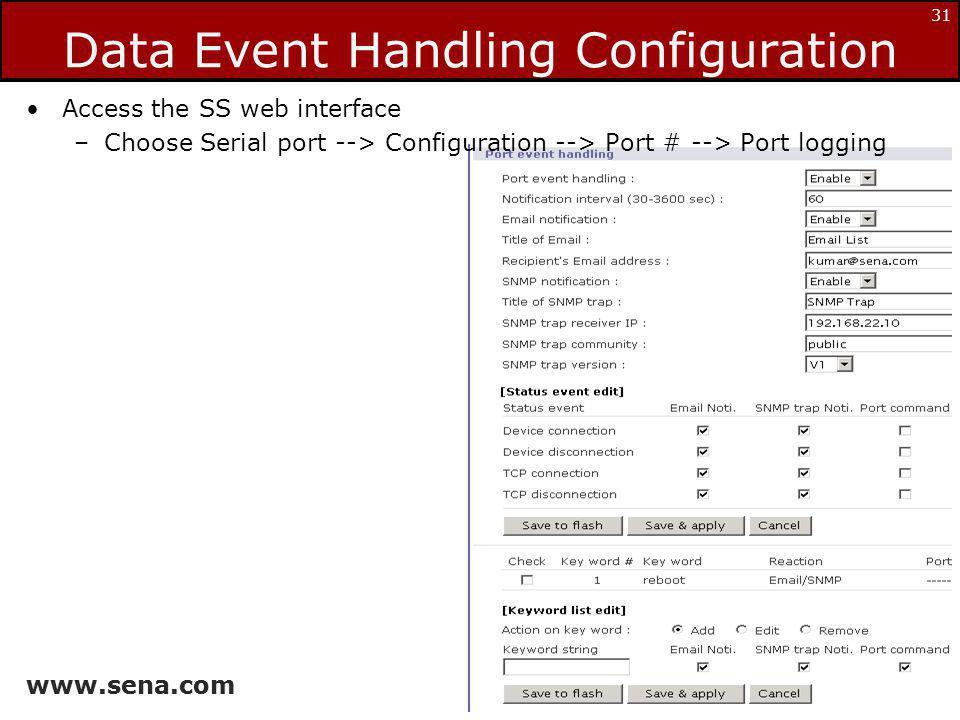 Data Event Handling Configuration
