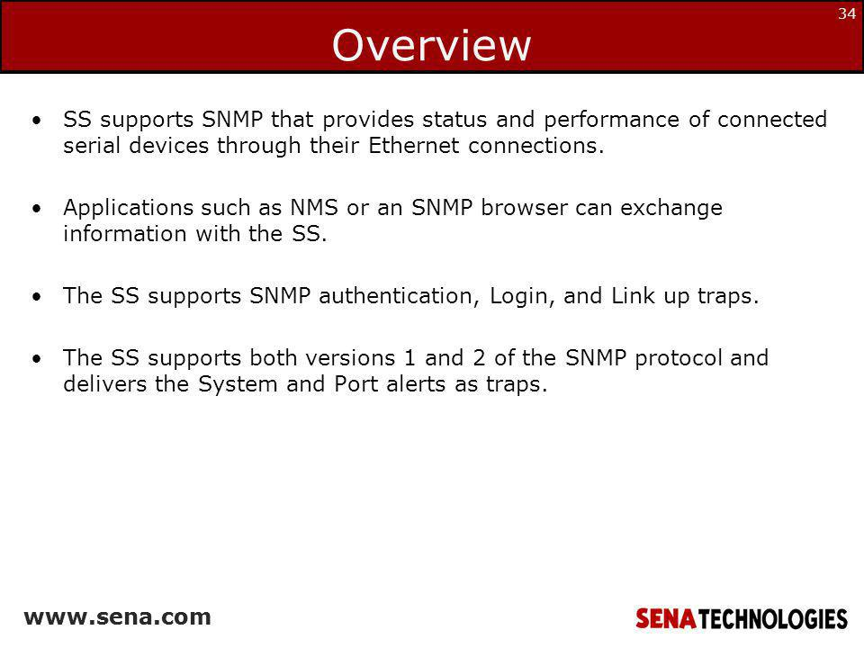 Overview SS supports SNMP that provides status and performance of connected serial devices through their Ethernet connections.