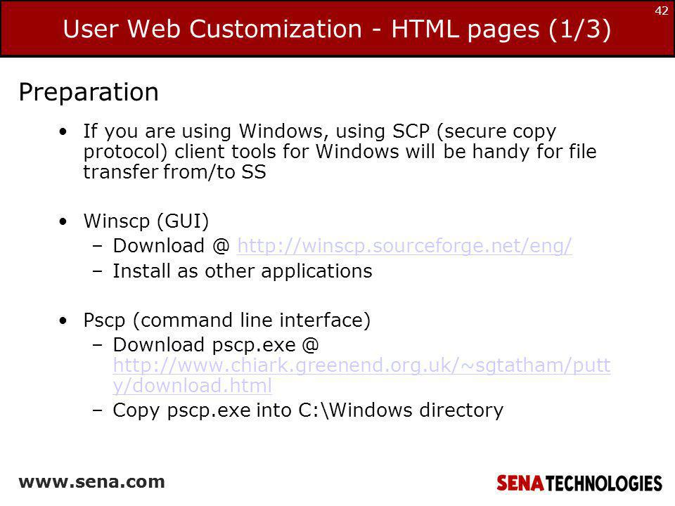 User Web Customization - HTML pages (1/3)