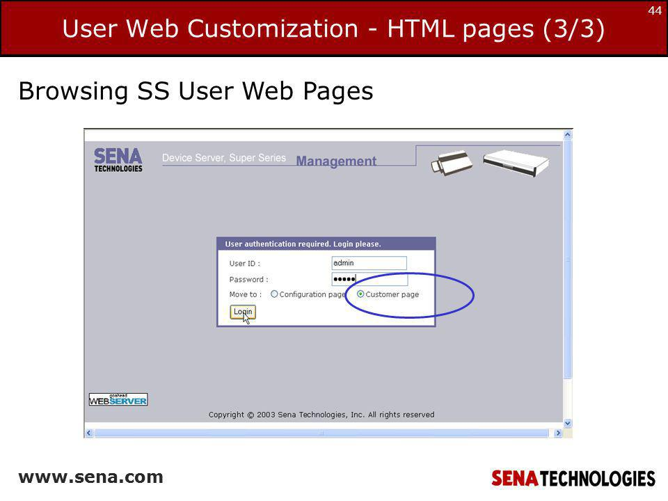 User Web Customization - HTML pages (3/3)