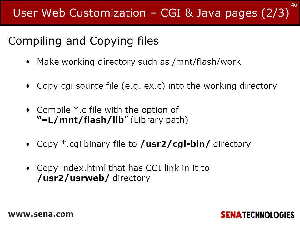 User Web Customization – CGI & Java pages (2/3)