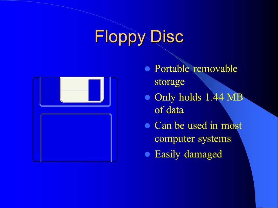 Floppy Disc Portable removable storage Only holds 1.44 MB of data