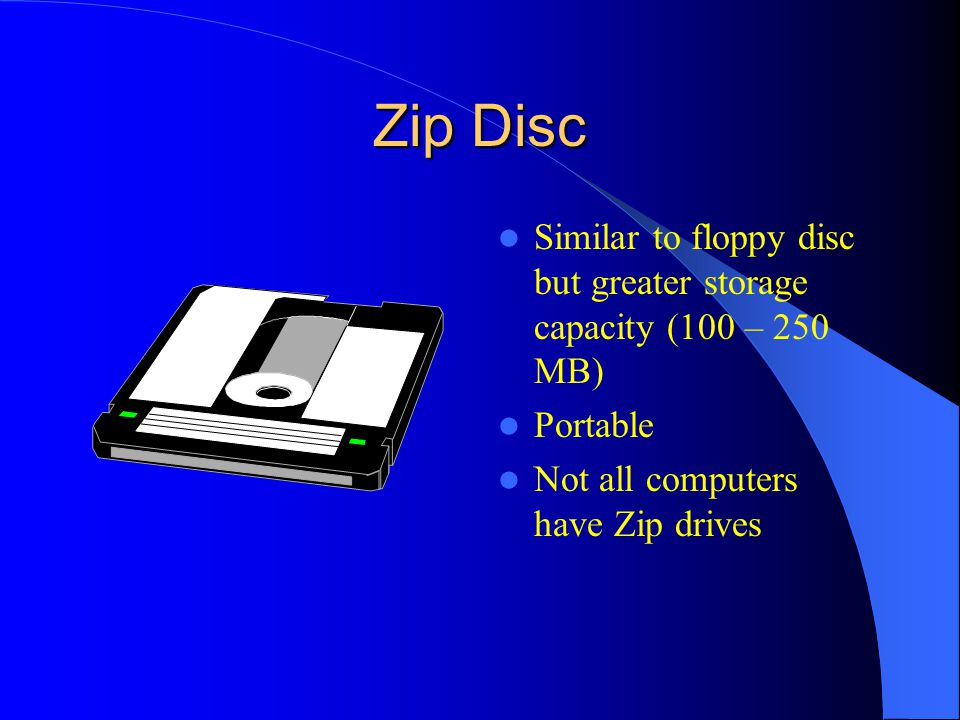 Zip Disc Similar to floppy disc but greater storage capacity (100 – 250 MB) Portable.