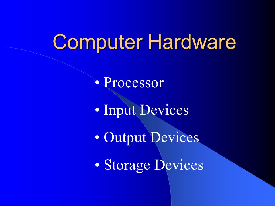 Computer Hardware Processor Input Devices Output Devices