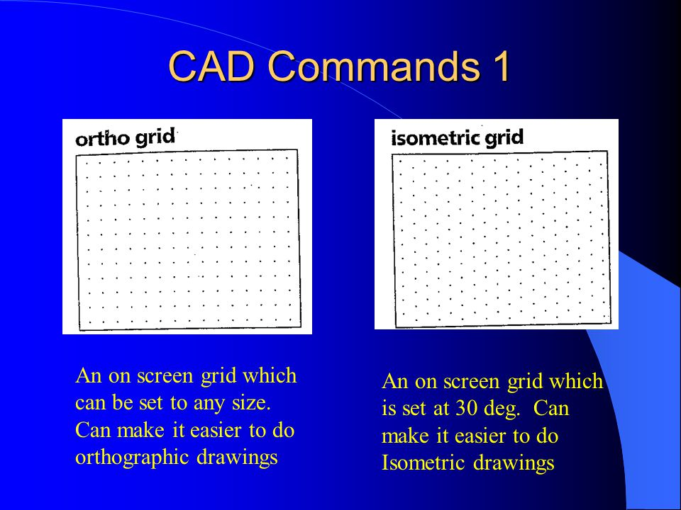 CAD Commands 1 An on screen grid which can be set to any size. Can make it easier to do orthographic drawings.