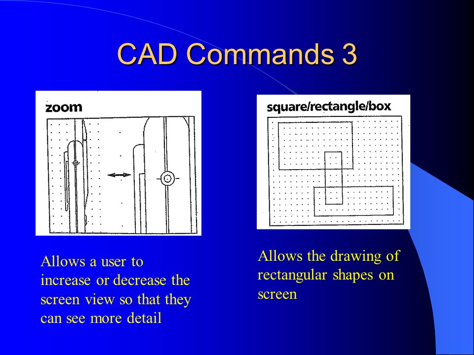 CAD Commands 3 Allows the drawing of rectangular shapes on screen