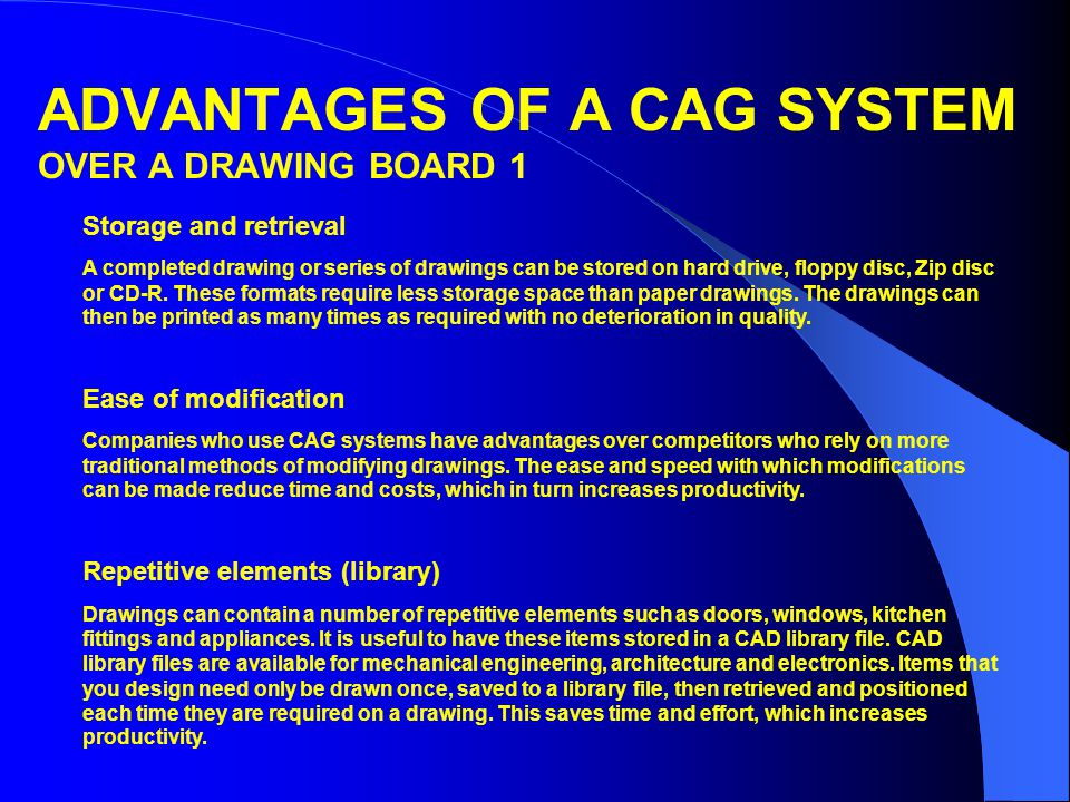 ADVANTAGES OF A CAG SYSTEM OVER A DRAWING BOARD 1