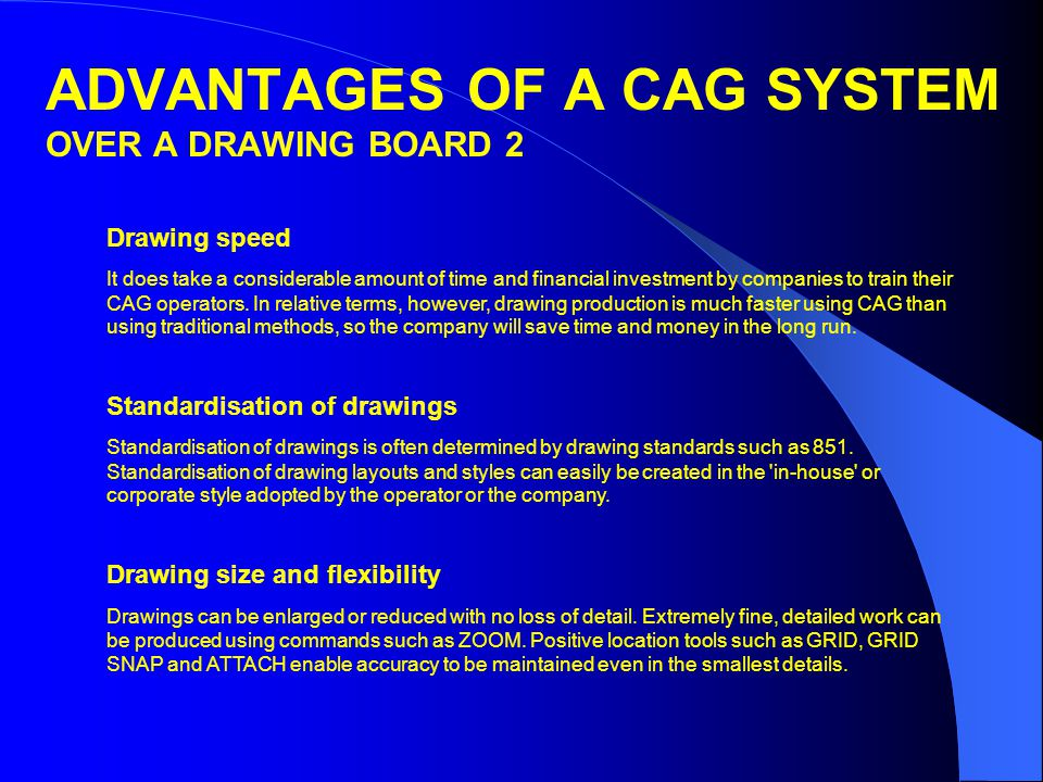 ADVANTAGES OF A CAG SYSTEM OVER A DRAWING BOARD 2